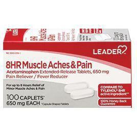 Leader 8 Hour Muscle Aches & Pain Acetaminophen 650mg ER Tablets, 100 count