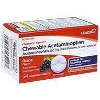 Leader Children's Acetaminophen Chewables, Grape, 24 ct