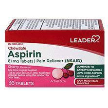 Leader 81mg Aspirin Chewable Tablets, Cherry Flavored, 36 Count