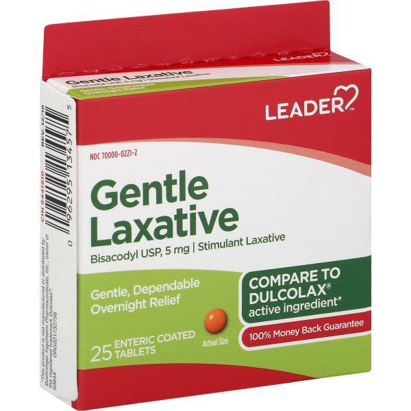 Leader Gentle Laxative, Bisacodyl 5mg - 25 count