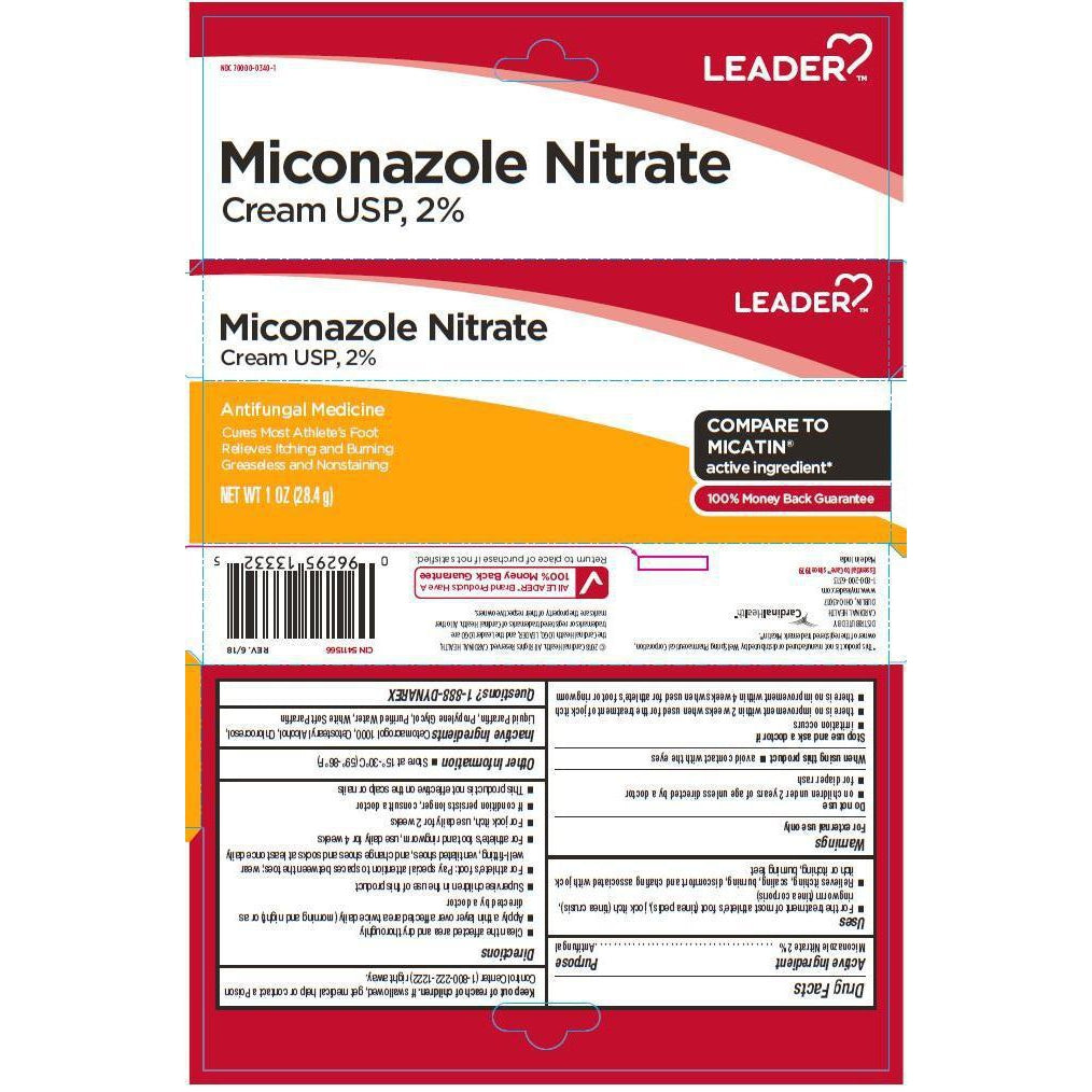 Leader Antifungal Cream, Miconazole Nitrate 2%, 1 ounce