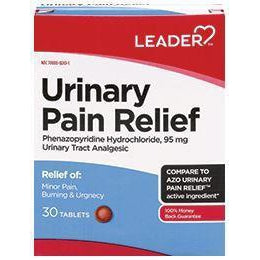 Leader Urinary Pain Relief, Phenazopyridine Hydrochloride 95mg, 30 Tablets