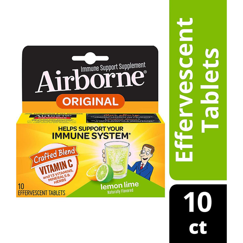 Airborne Lemon Lime Effervescent Tablets, 10 count in one Box