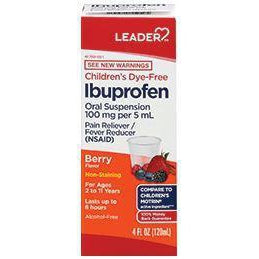 Leader Children's Oral Suspension, 100mg Ibuprofen, Berry Flavored, 4 fl. oz