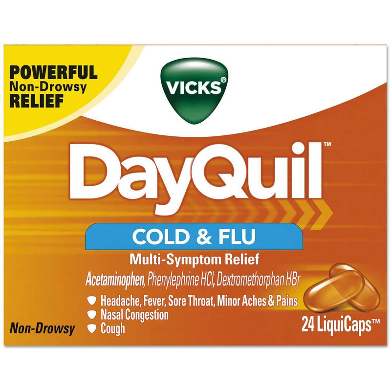 Vicks DayQuil Cold & Flu LiquiCaps, 24 Liquicaps in one Box