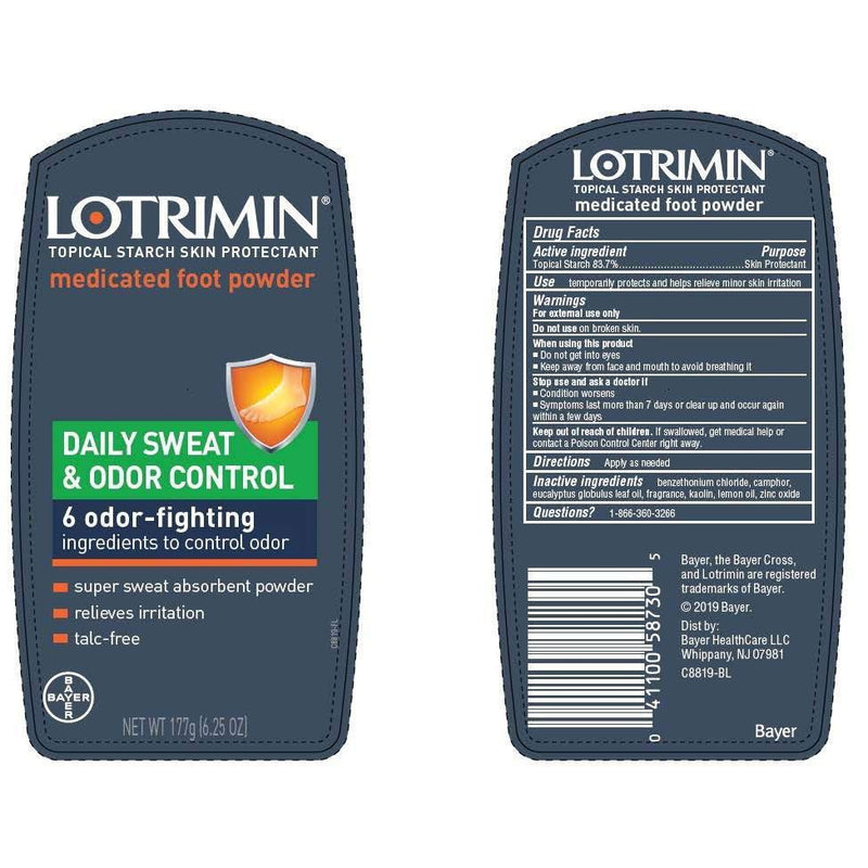 Lotrimin Daily Sweat & Odor Control Medicated Foot Powder, Topical Starch Skin Protectant, 6.25 Ounce