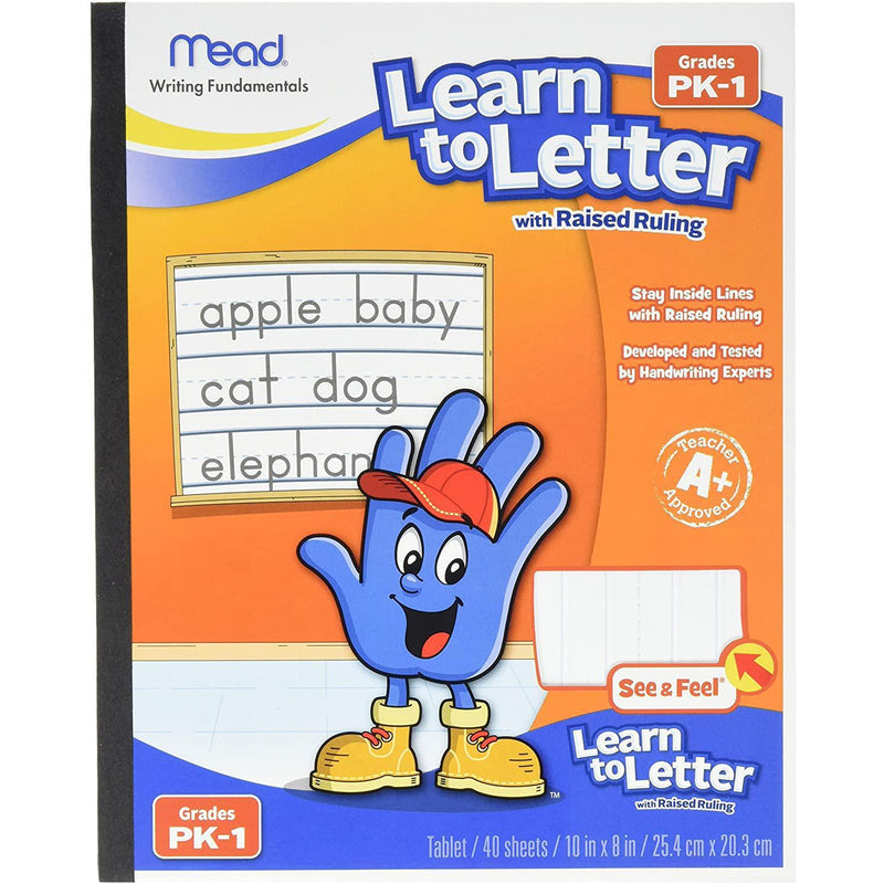 "Mead Learn to Letter with Raised Ruling Writing Tablet, 8"" x 10"", White, 40 Sheets"