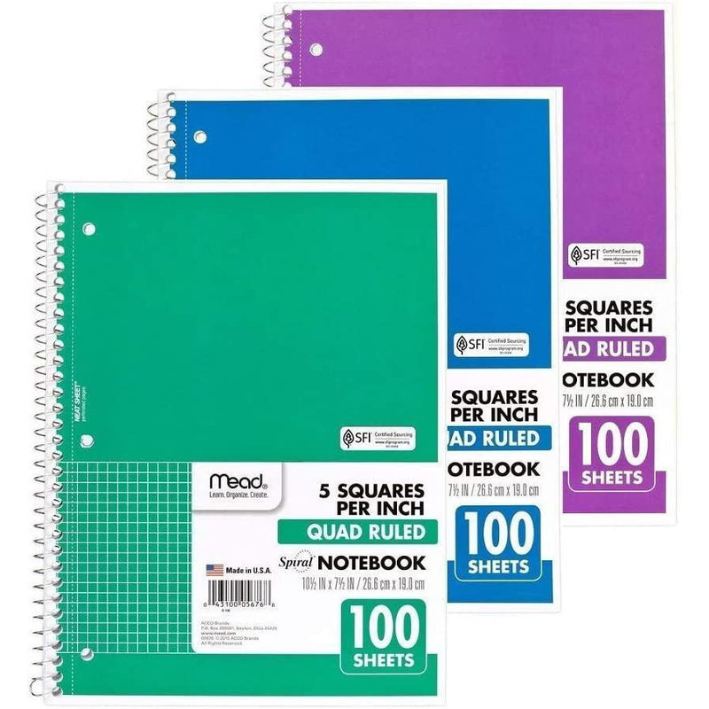 Mead Spiral Quad Ruled Notebook, 1 Subject, 5 Squares per Inch, 100 Sheets, Varied Colors, 1 Count