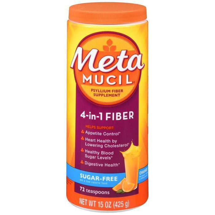 Metamucil Fiber, 4-in-1 Orange SugarFree Powder - 72 tablespoons