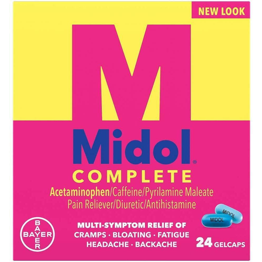 Midol Complete Menstrual Pain Relief Gelcaps with Acetaminophen for Menstrual Symptom Relief, 24 Count