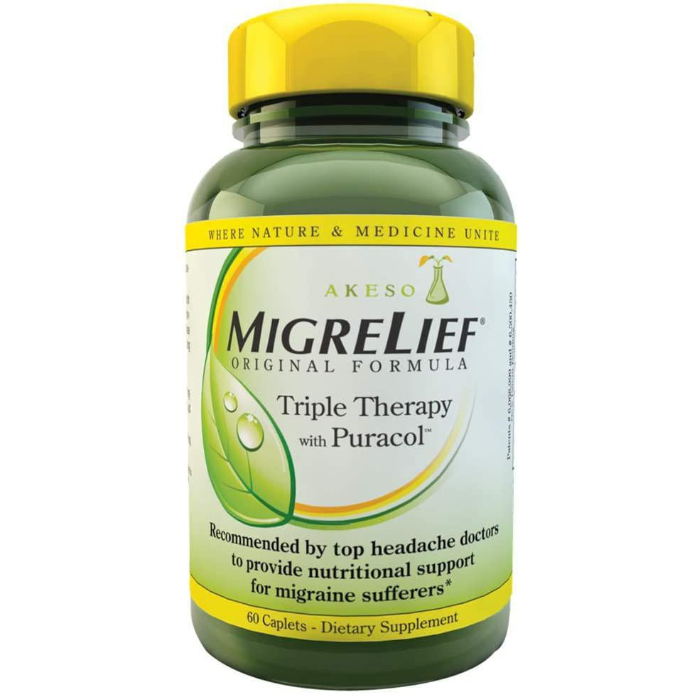MigreLief Original Formula Triple Therapy with Puracol Caplets, 60 Count