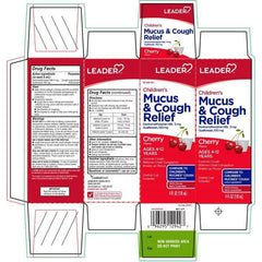 Leader Childrens Mucus And Cough Relief, Cherry Flavor, 4 fl oz.