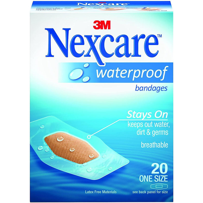 "Nexcare Waterproof Bandages, Hypoallergenic, Clear, x 1/16"" x 2 1/4"", 20 Bandages"