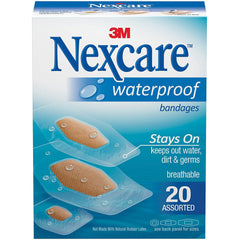 Nexcare Waterproof Clear Bandages, Assorted Sizes, 20 Count