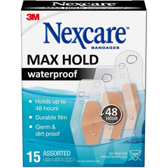 Nexcare Max Hold Waterproof Bandages, Clear, Assorted Sizes, 15 Count