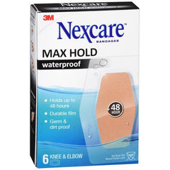 Nexcare Max Hold Waterproof Bandages, Clear, Knee & Elbow, 2.38