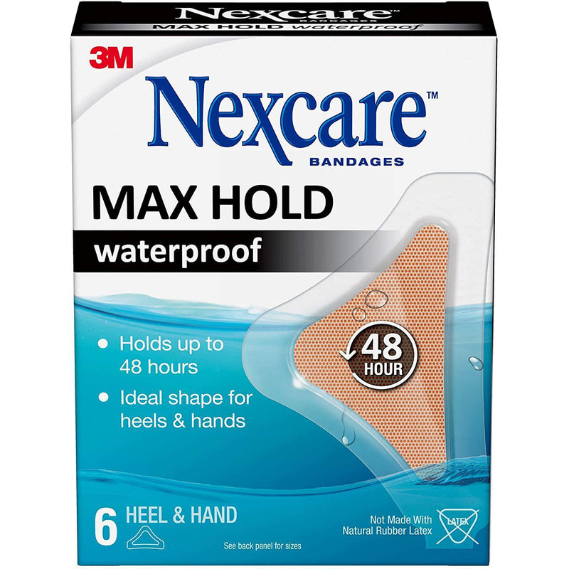 Nexcare Max Hold Waterproof Bandages, Clear, Hand/ Heel, 6 Count
