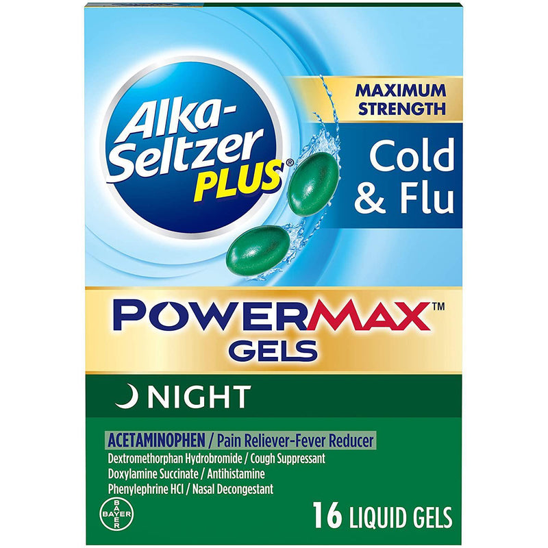 Alka-Seltzer Plus PowerMax Gels Night, 16 LIQUID GELS