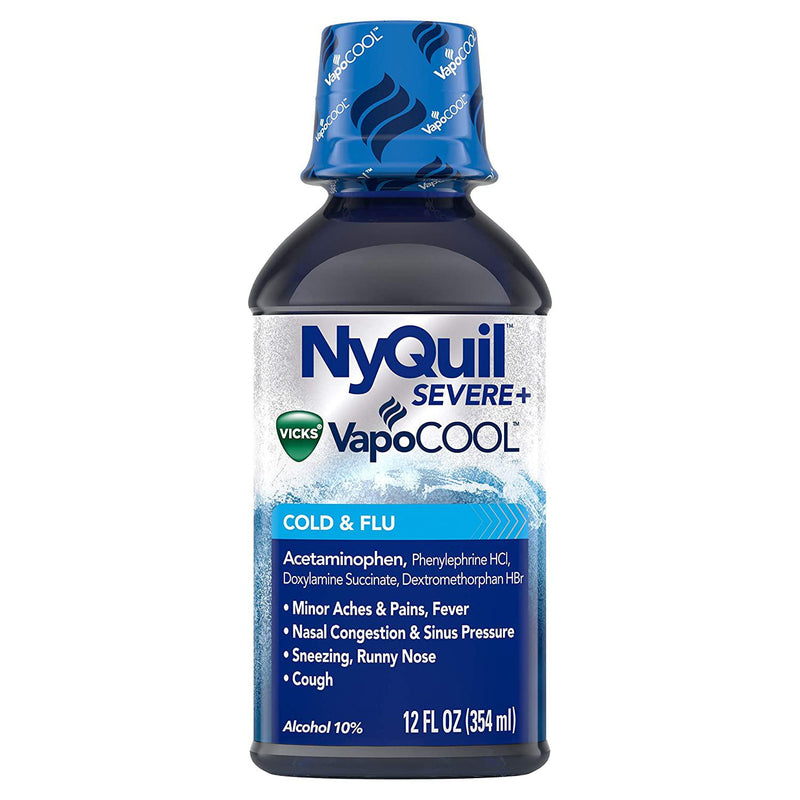 NyQuil SEVERE with Vicks VapoCOOL Nighttime Cough, Cold and Flu relief liquid, 12 fl oz in One Bottle