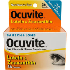 Bausch + Lomb Ocuvite Vitamin & Mineral Supplement with Lutein & Zeaxanthin, Capsules, 36 Count
