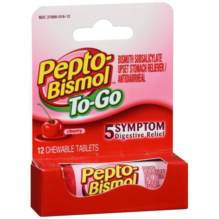 Pepto Bismol To Go, Chewable Tablets, Cherry Flavor - 12 count