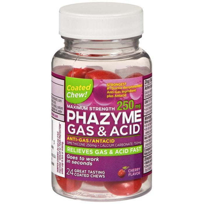 Phazyme Maximum Strength 250mg Gas & Acid Chews, Cherry Flavor - 24 count