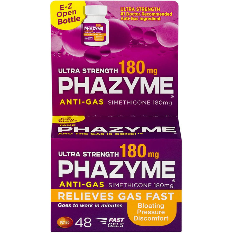 Phazyme Ultra Strength Gas and Bloating Relief, 180 Mg Simethicone - 48 count