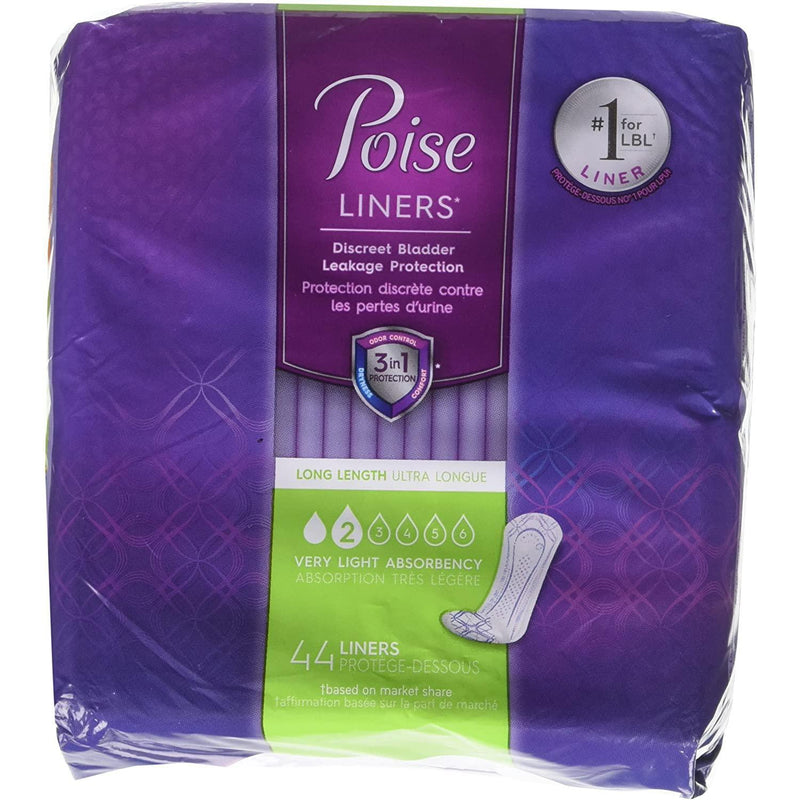 Poise Liners for Light Bladder Leakage, Long Length, Very Light Absorbency, 44 Count