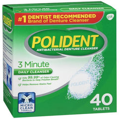 Polident 3 Minute Denture Cleanser Tablets, 40 count