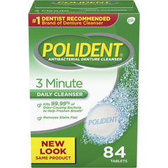 Polident 3 Minute Denture Cleanser Tablets, 84 count