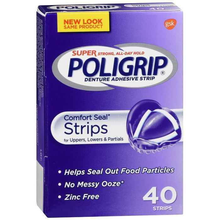 Super Poligrip Comfort Seal Denture Adhesive Strips, 40 Count