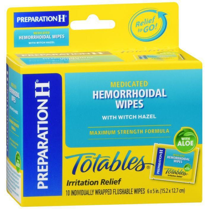 Preparation H Flushable Medicated Hemorrhoid Wipes, Maximum Strength Relief - 10 count