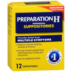 Preparation H Hemorrhoid Suppositories - 12 count