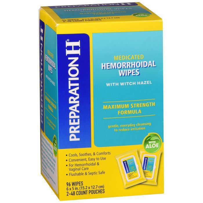 Preparation H Flushable Medicated Hemorrhoid Wipes, Maximum Strength Relief - 96 count