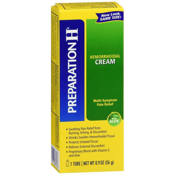 Preparation H Hemorrhoid Cream, Multi-symptom Pain Relief With Aloe, Tube - 0.9 Oz