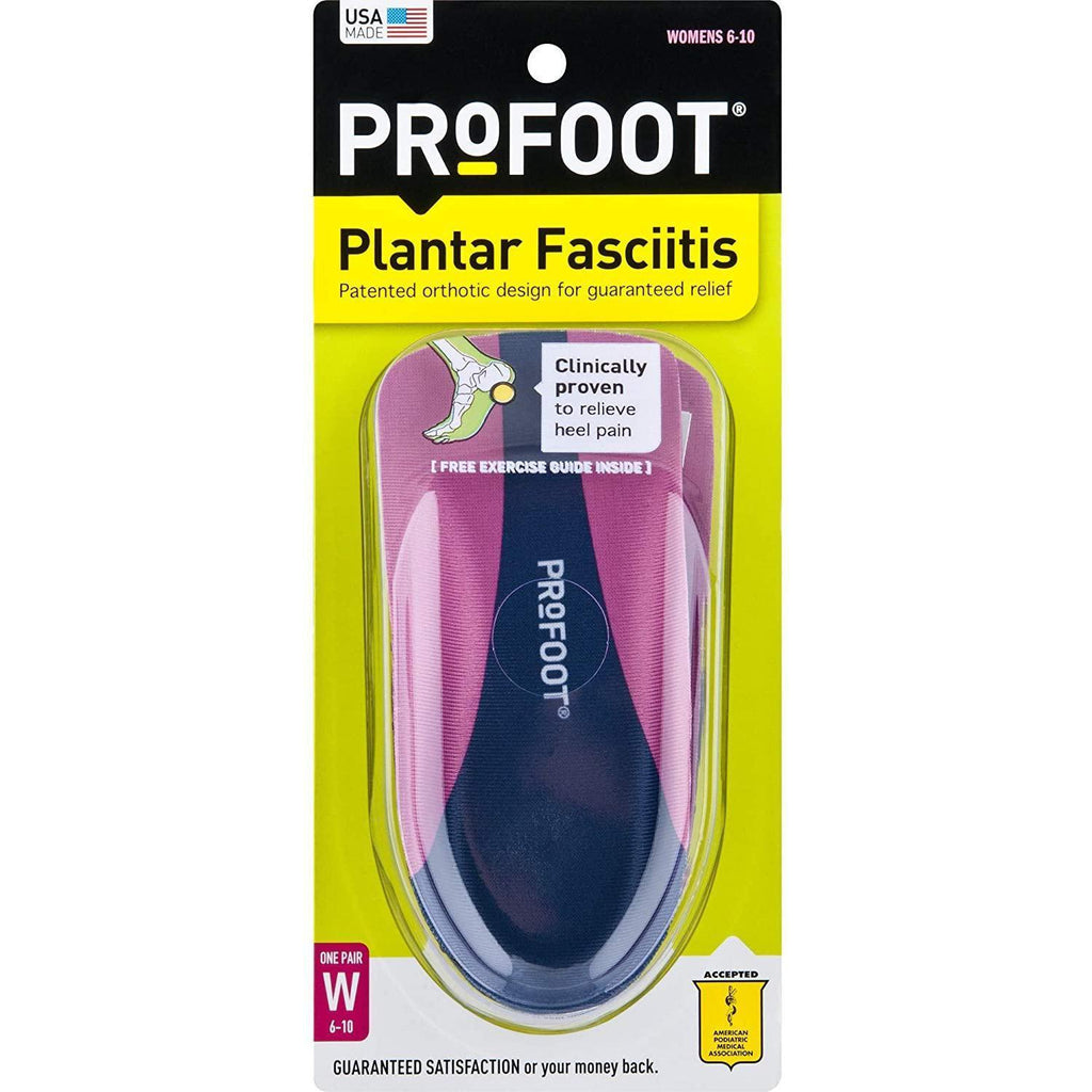 ProFoot Orthotic Insoles For Plantar Fasciitis & Heel Pain, Women's 6-10, 1 Pair
