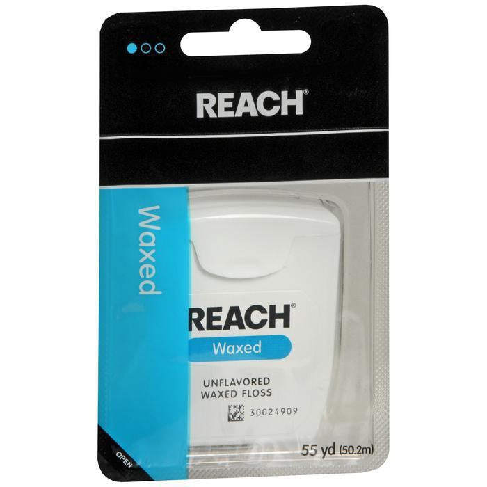 REACH Unflavored Waxed Dental Floss, 55 yards