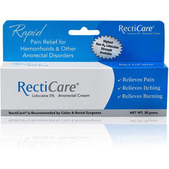 RectiCare Anorectal Lidocaine 5% Cream - 30g Tube