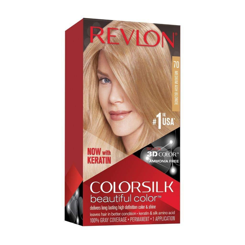 Revlon ColorSilk Hair Color 70 Medium Ash Blonde, 1 Count