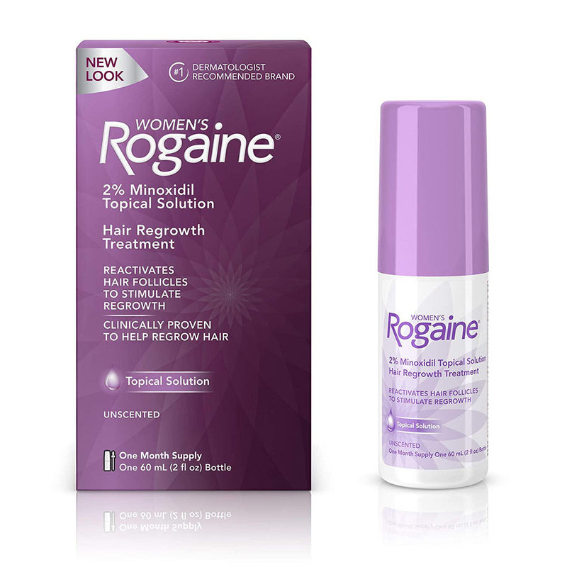 Women's Rogaine 2% Minoxidil Topical Solution for Hair Thinning and Loss, Topical Treatment for Women's Hair Regrowth, 1-Month Supply