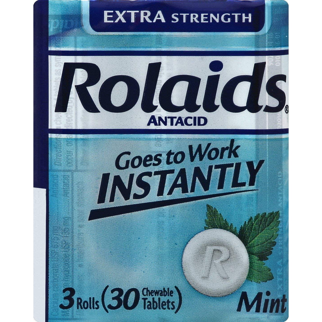 ROLAIDS Extra Strength Tablets Mint - 3 Rolls, 30 Chewable tablets