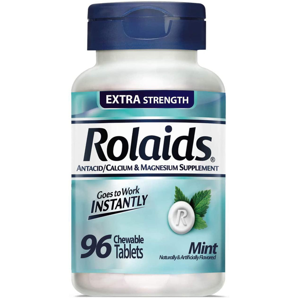 Rolaids Extra Strength Antacid Chewable Tablets, Mint - 96 Count