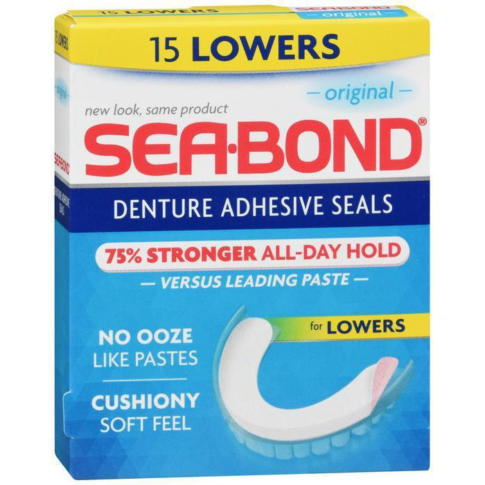 Sea Bond Secure Denture Adhesive Seals, Original Lowers - 15 Count