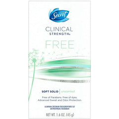 Secret Clinical Strength Soft Solid Sensitive Unscented Deodorant, 1.6 oz