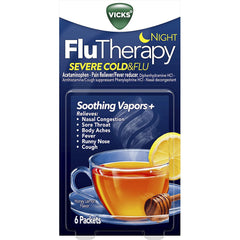 Vicks Flutherapy Severe Cold and Flu, Nighttime, Nasal Decongestant, 6 Packets - Hot Drink with Soothing Vapors