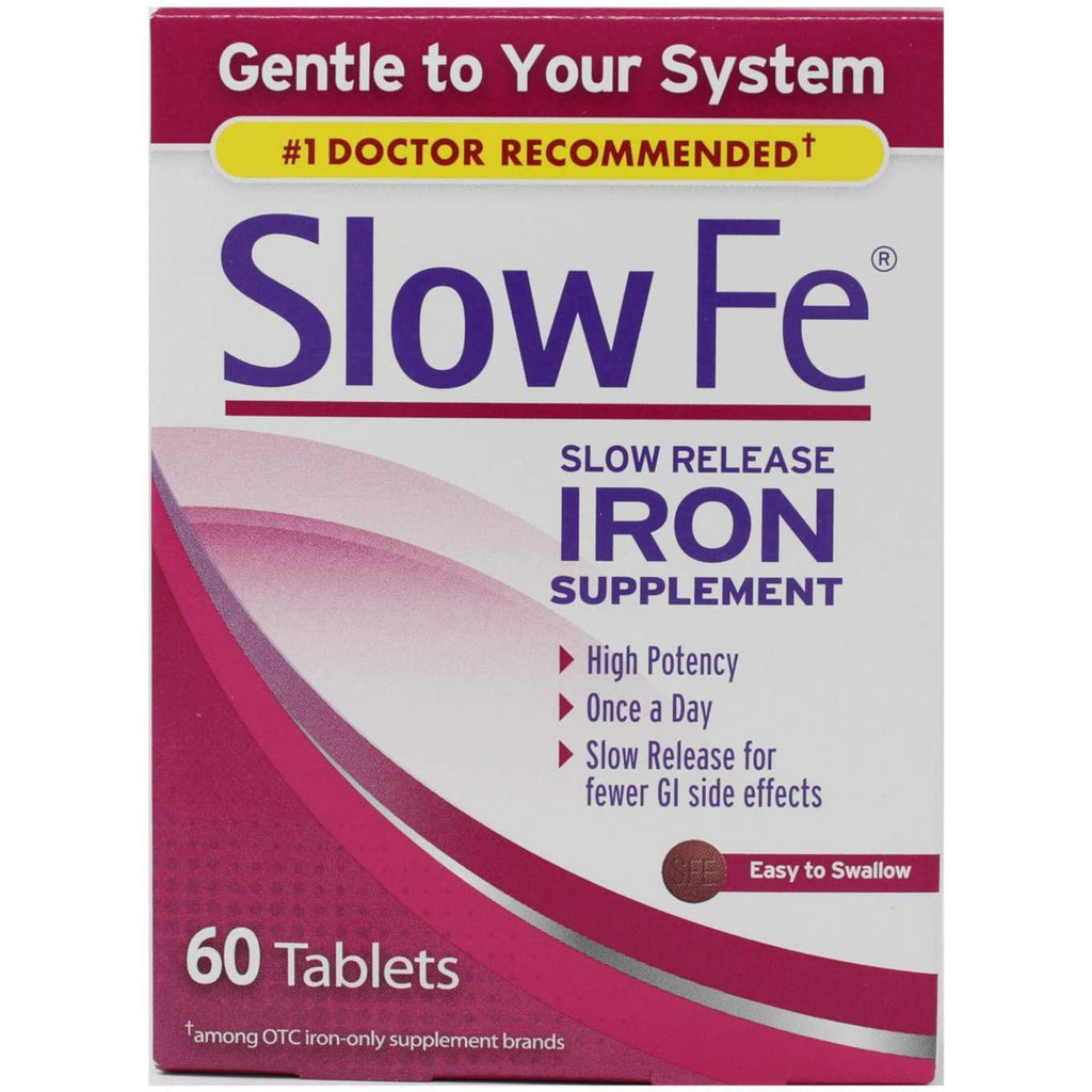 Slow Fe Slow Release Iron Supplement High Potency Iron 45 mg, 60 tablets