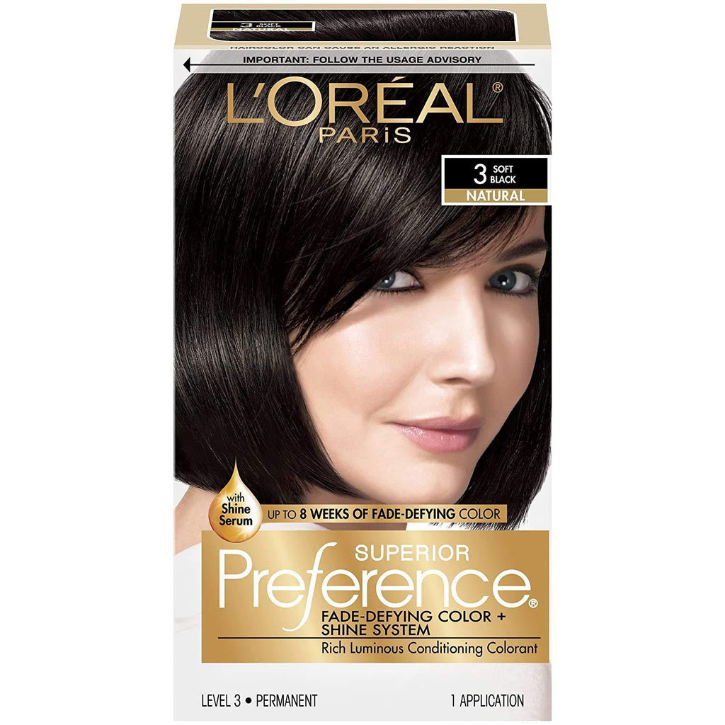 L'Oreal Paris Superior Preference Fade-Defying + Shine Permanent Hair Color, 3 Soft Black, Pack of 1, Hair Dye