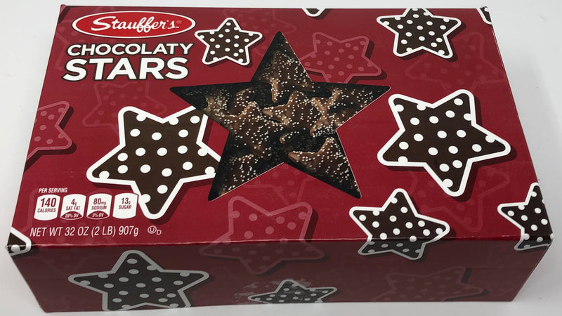 Stauffers Christmas Chocolate Graham Stars Cookies 2 Lb. Holiday Gift Box