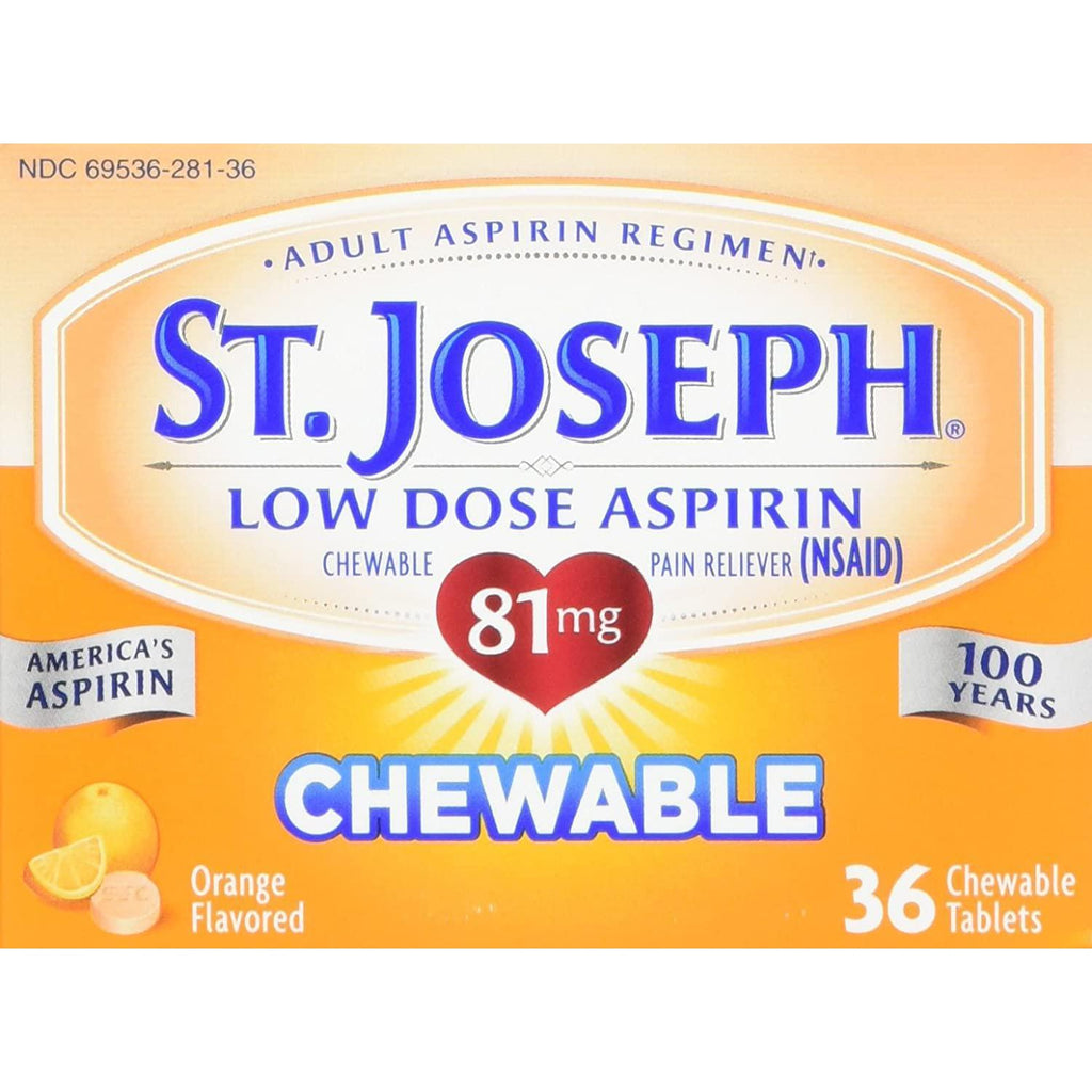 St. Joseph Aspirin Pain Reliever, Chewable Orange Flavored, Low Dose, 81mg, 36 Tablets