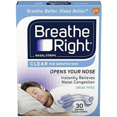 Breathe Right Nasal Strips Clear Small/Medium, 30 Strips